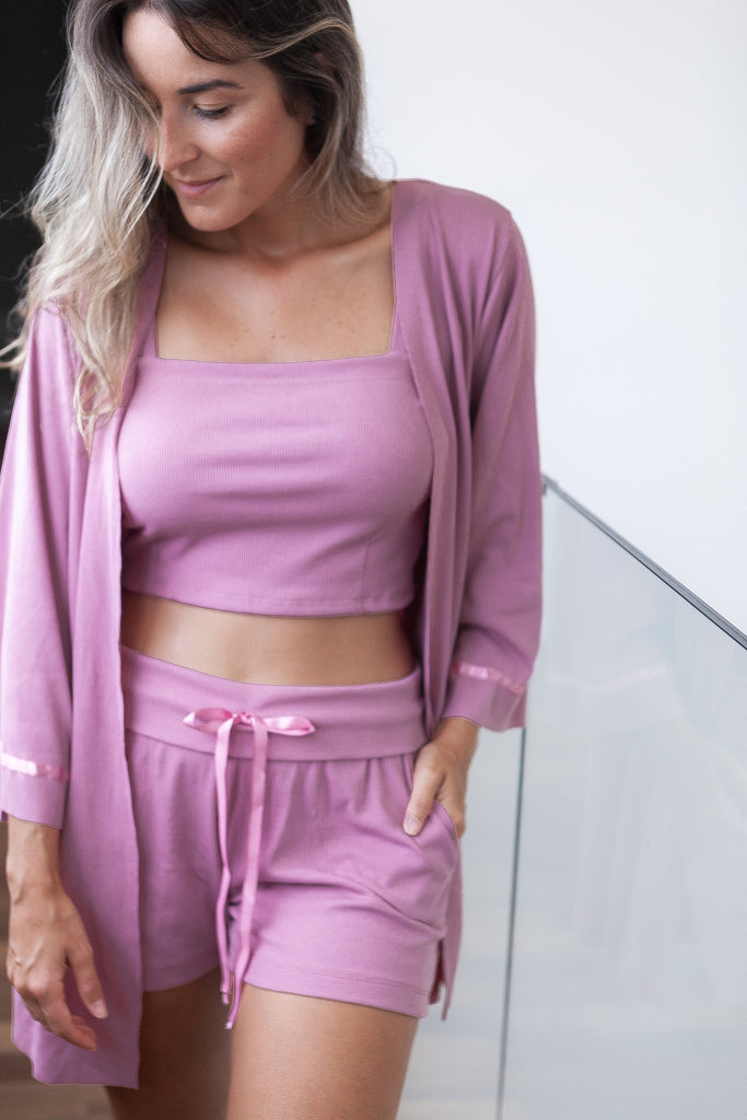 Top Cropped Homewear - Rosa