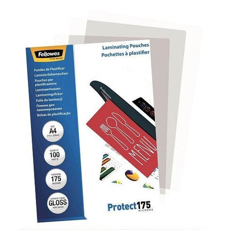 Laminating Pouches A4 Gloss 175 Micron Pack 100