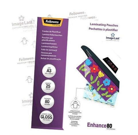 Laminating Pouches A3 Gloss 80 Micron Pack 25