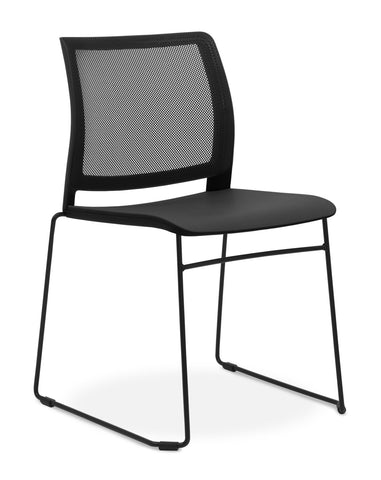 CS O2 Mesh Black & Chrome Sled Frame Upholstered Seat Pad@free delivery