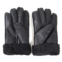 Sheepskin Gloves - Black Leather