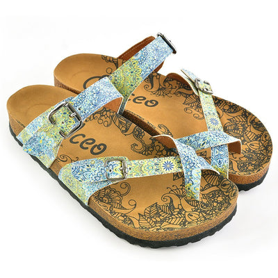 Blue & Yellow Floral Strappy Sandal CAL1005