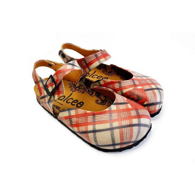 Red, Beige, Black Lines and Red Rose Patterned Clogs - CAL1601