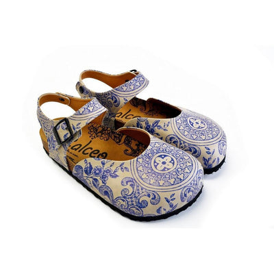 Blue and Beige Flowers Patterned Clogs - CAL1603
