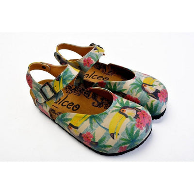 Pink, Blue, Beige Color and Pink Flowers, Yellow Toucan Patterned Clogs - CAL1608