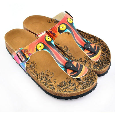 Red & Yellow T-Strap Sandal CAL519