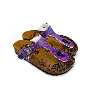 Purple, Blue, Pink Colored Space Star Bright, Patterned Sandal - CAL525