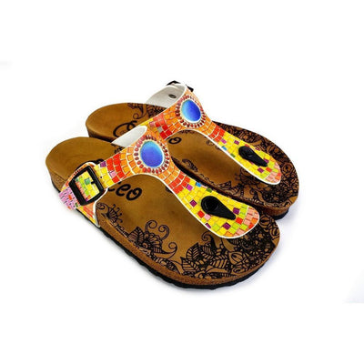 Blue, Yellow, Orange Geometric Patterned Sandal - CAL528