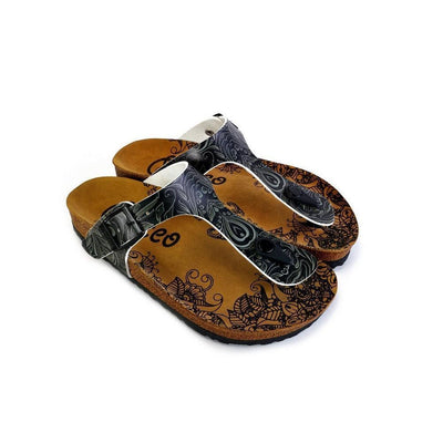 Black and Grey Patterned Flowers Sandal - CAL529