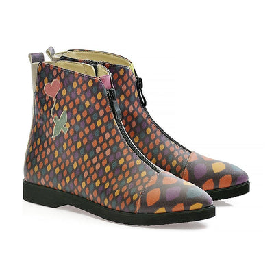 Color Scaly Ankle Boots FER110