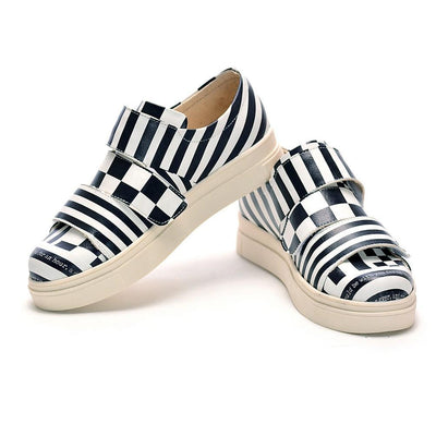 Black and White Slip on Sneakers Shoes NAC111