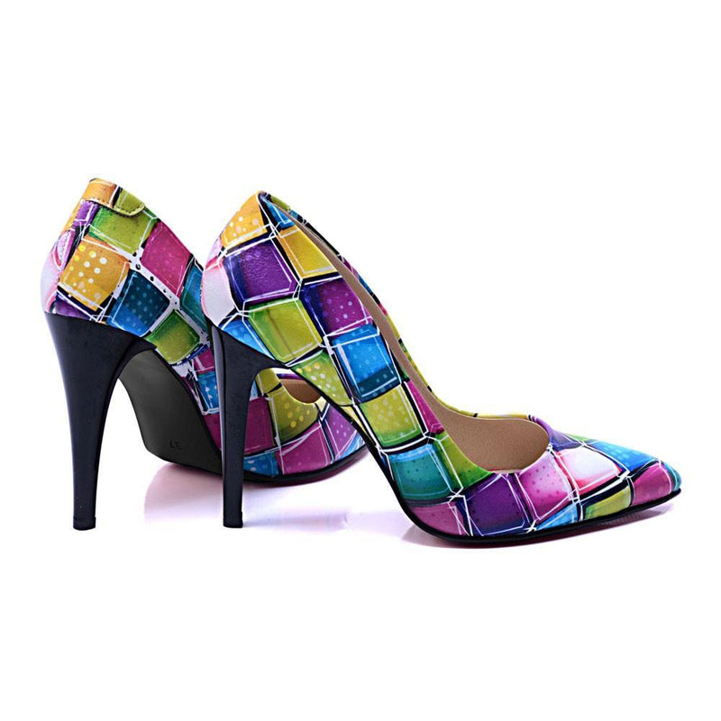 Colored Squares Heel Shoes STL4408
