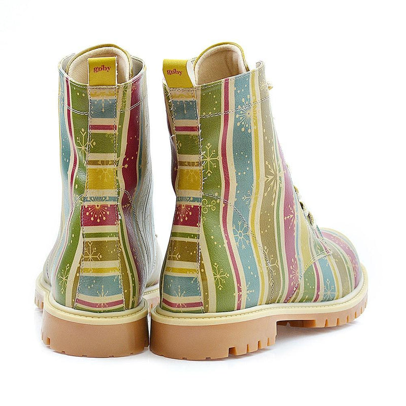 Colored Striped and Snow Crystals Long Boots TMB1022