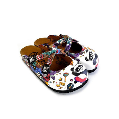 Colorful Moving and Mixed Patterned and White Dancing Panda Patterned Clogs - WCAL176