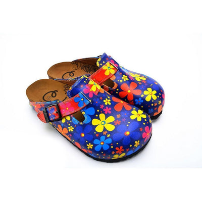 Blue Colored and Colorful Flowers Patterned Clogs - WCAL371