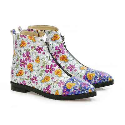 Flowers and Butterfly Short Boots WFER114