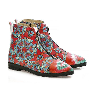 Colored Pattern Short Boots WFER115
