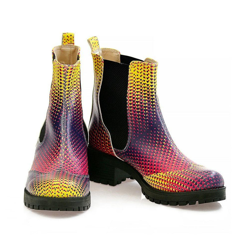 Colored Triangles Short Boots WLAS111