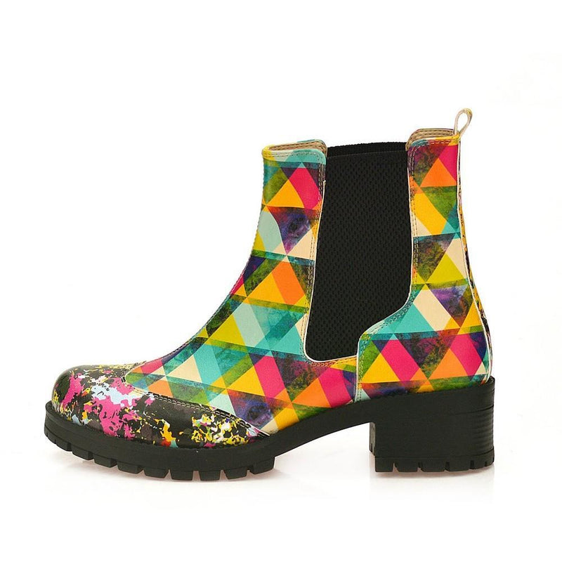Colored Triangles Short Boots WLAS115