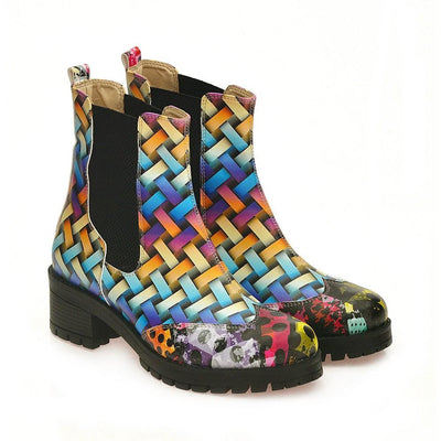 Colored Wicker Short Boots WLAS116
