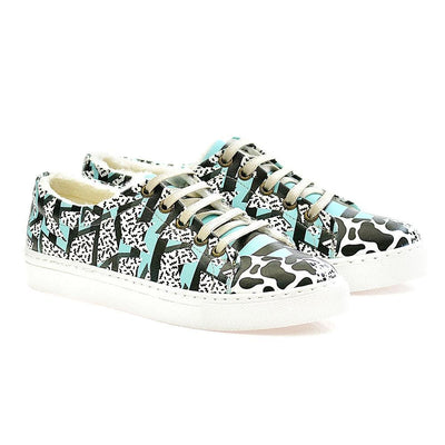 Black and Blue Pattern Slip on Sneakers Shoes WSPR114