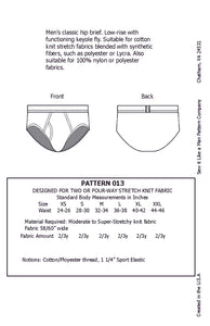 Men's Classic Hip Brief Sewing Pattern MAIL