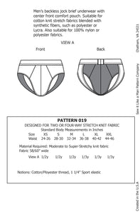 Men's Backless Jock Brief Sewing Pattern MAIL