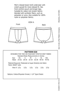 Men's Relaxed Boxer Brief Sewing Pattern MAIL