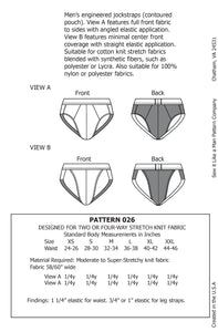 Mens Contoured Jockstrap Underwear Sewing Pattern MAIL