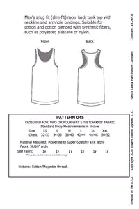 Men's Racer Back Tank Top Pattern MAIL