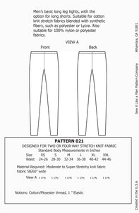 Mens Tights / Leggings Sewing Pattern PDF