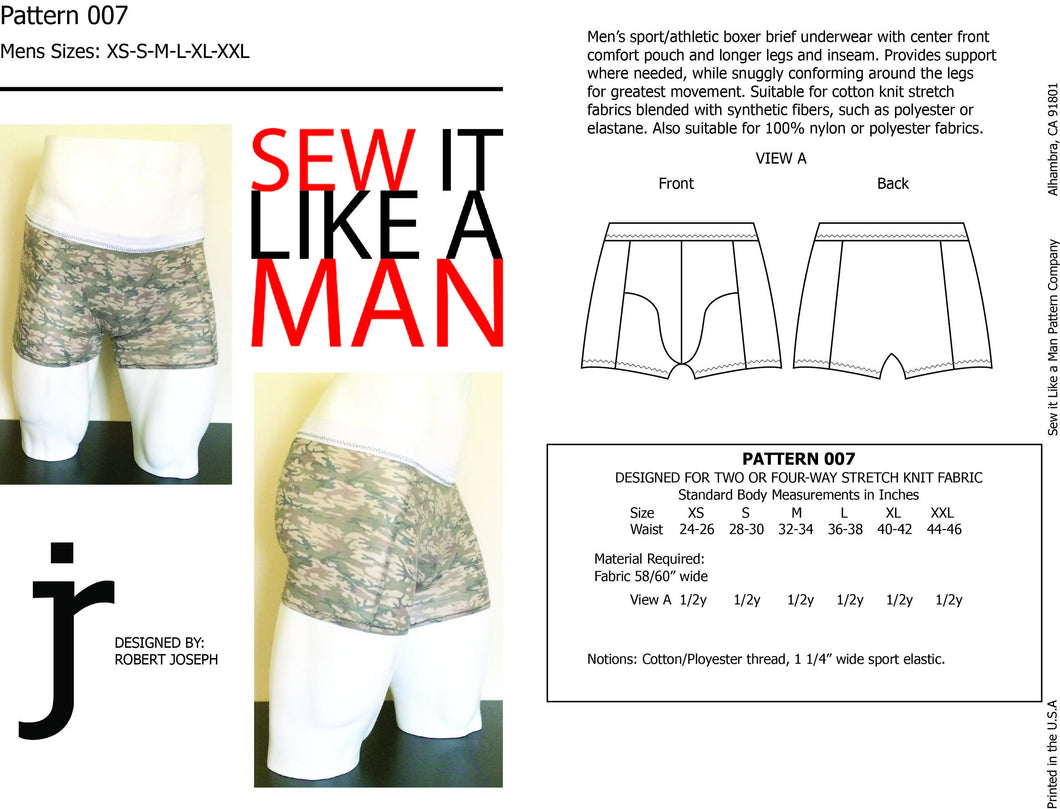 Mens Sport Boxer Brief Sewing Pattern PDF
