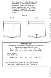 Men's Knit Boxer with Button Fly Sewing Pattern PDF
