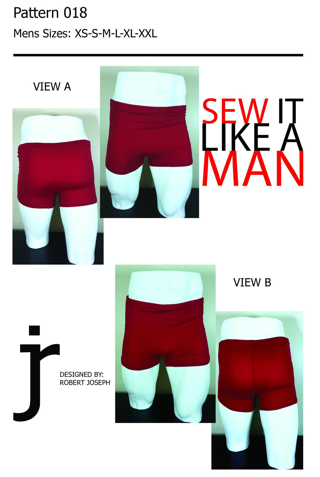 Mens Vintage Swim Trunk Sewing Pattern MAIL