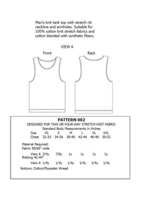 Mens Tank Top Sewing Pattern MAIL