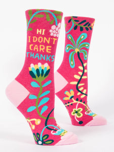Hi I Don't Care, Thanks Women's Crew Socks