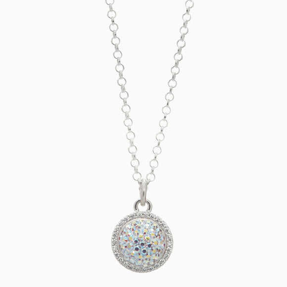Aurora Borealis Sparkle Ball Halo Necklace Pendant