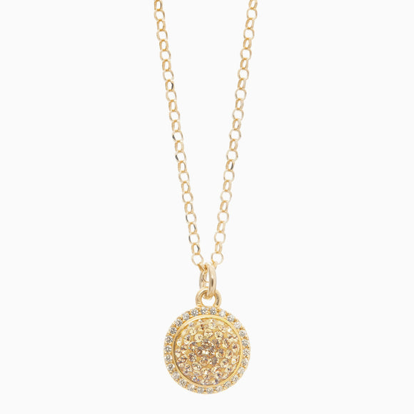 Gold Sparkle Ball Halo Necklace Pendant