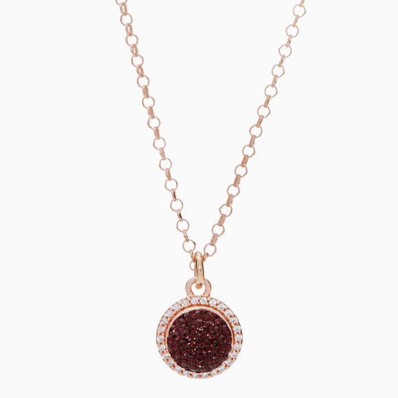 Merlot Sparkle Ball Halo Necklace Pendant