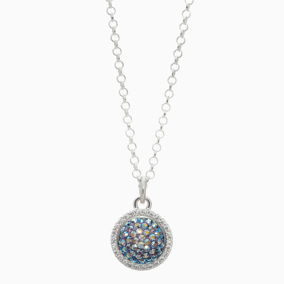Purple Aurora Borealis Sparkle Ball Halo Necklace Pendant