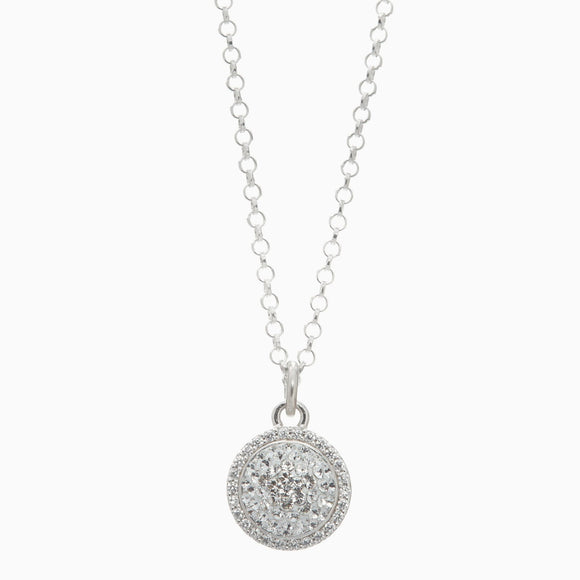White Sparkle Ball Halo Necklace Pendant