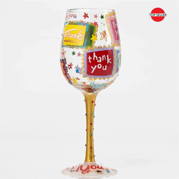 Thank You, Thank You Painted Wine Glass