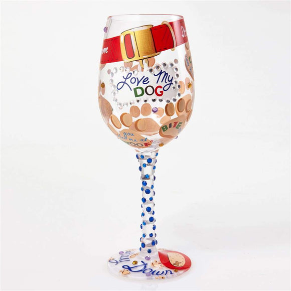 Love My Dog Painted Wine Glass