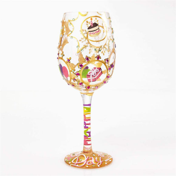 Queen For A Day Painted Wine Glass