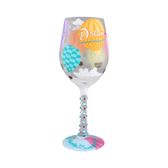 Lolita Reach For The Sky Painted Wine Glass