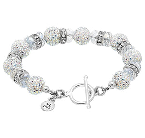 Aurora Borealis Sparkle Ball Bling Toggle Bracelet