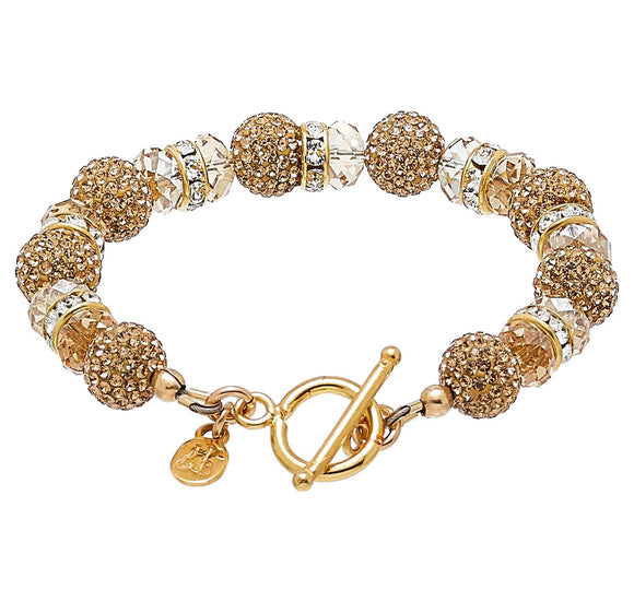 Gold Sparkle Ball Bling Toggle Bracelet