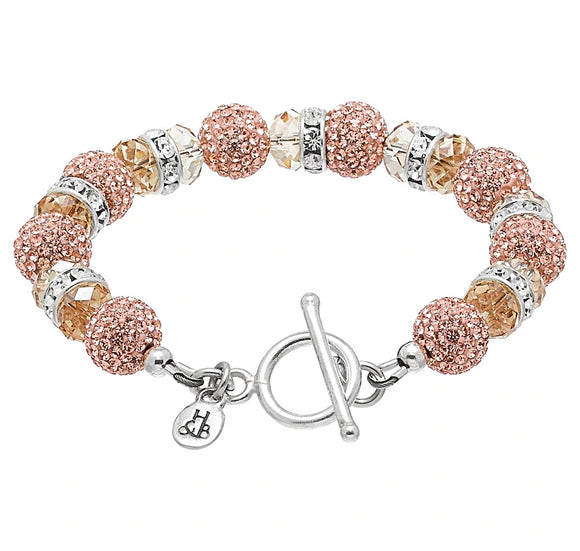 Rose Gold Sparkle Ball Bling Toggle Bracelet