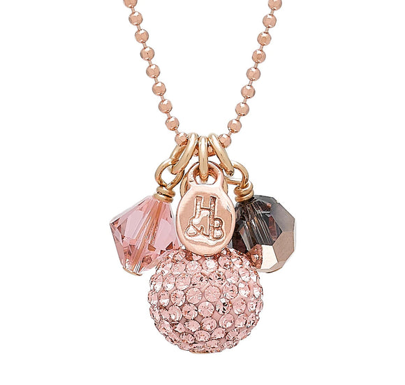 Rose Gold Sparkle Ball Necklace Cluster