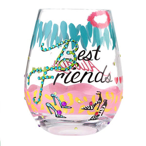 Best Friends Painted Stemless Wine Glass